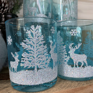 GLASS T LIGHT GLITTER DEER