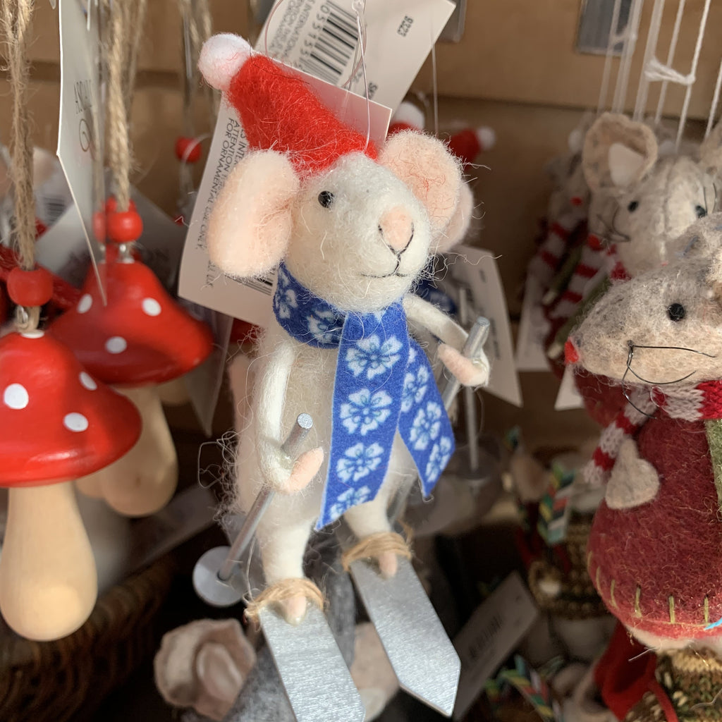SKIING MOUSE TREE DECORATION