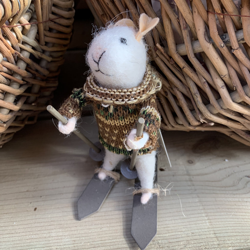 BERNIE SKIING MOUSE HANGING DECORATION