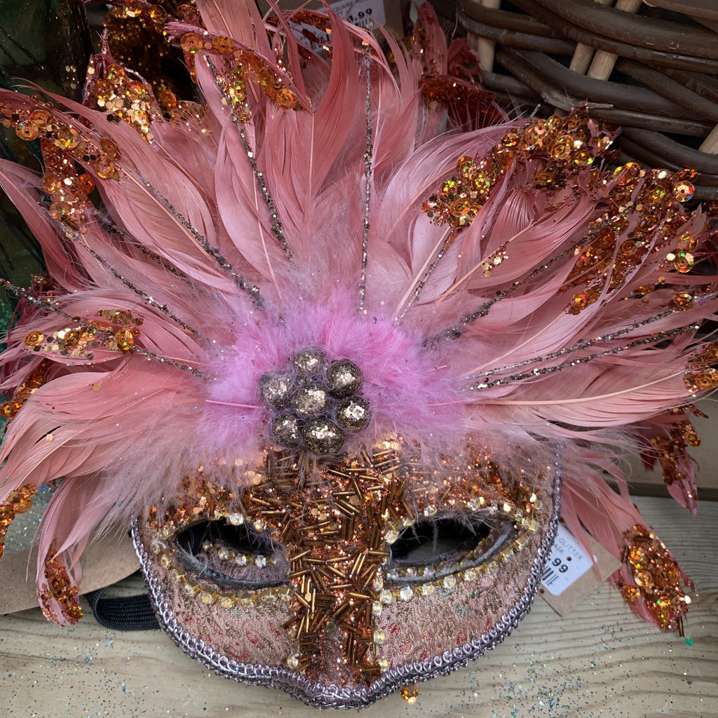 AMBER ROSE GLITTER FEATHER MASK