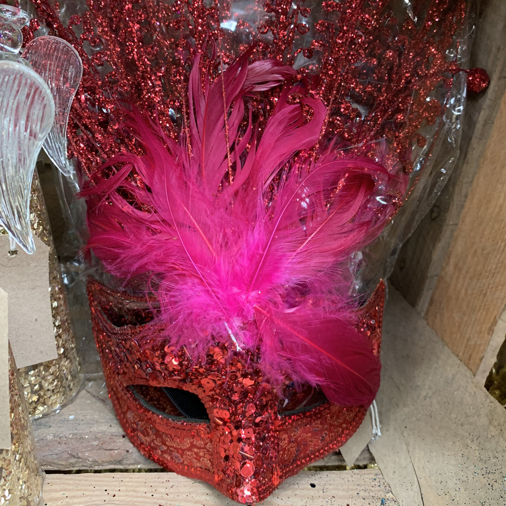 RED GLITTER PINK FEATHER MASK