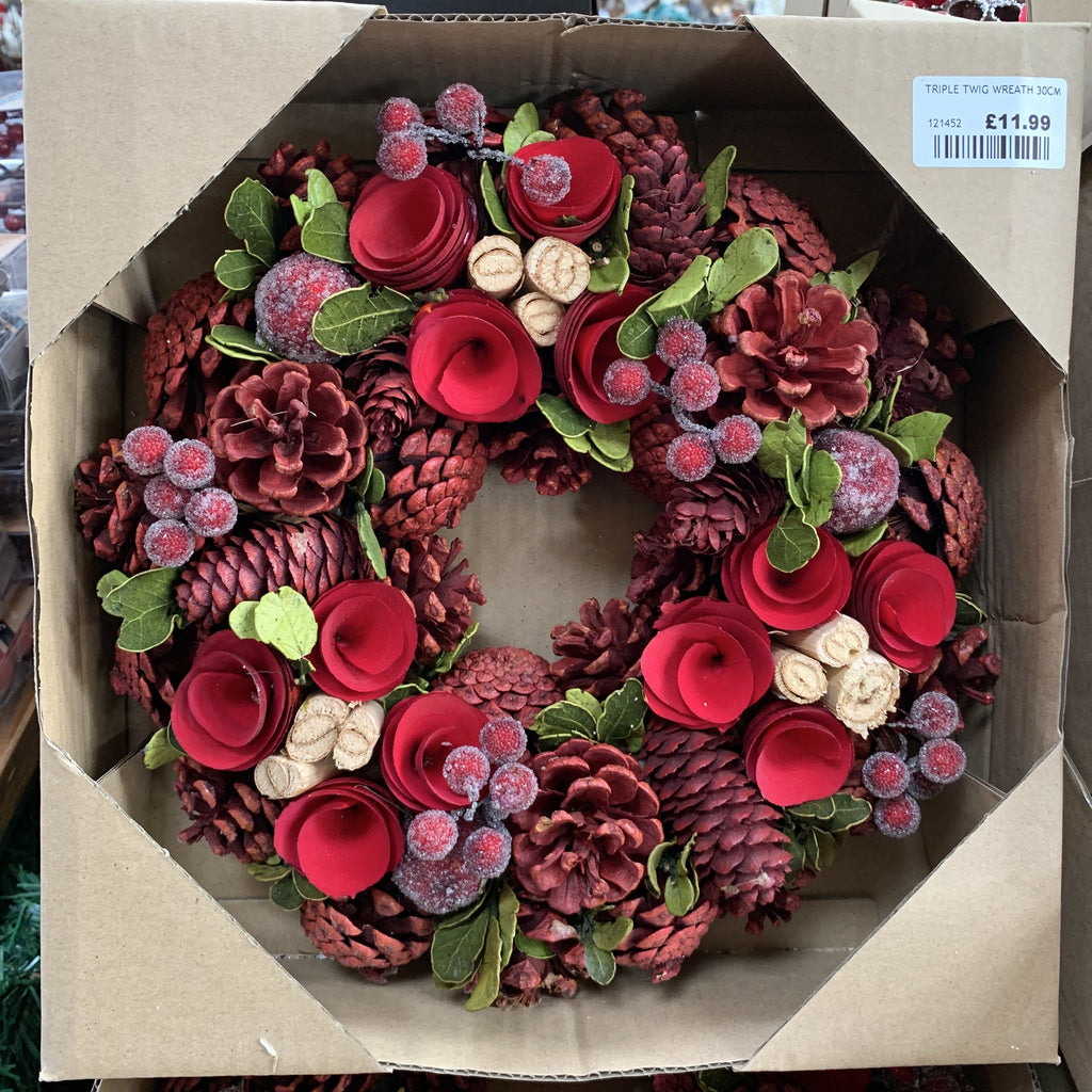 TRIPLE TWIG WREATH 30CM