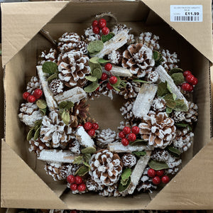 SILVER FROSTED WREATH 30CM