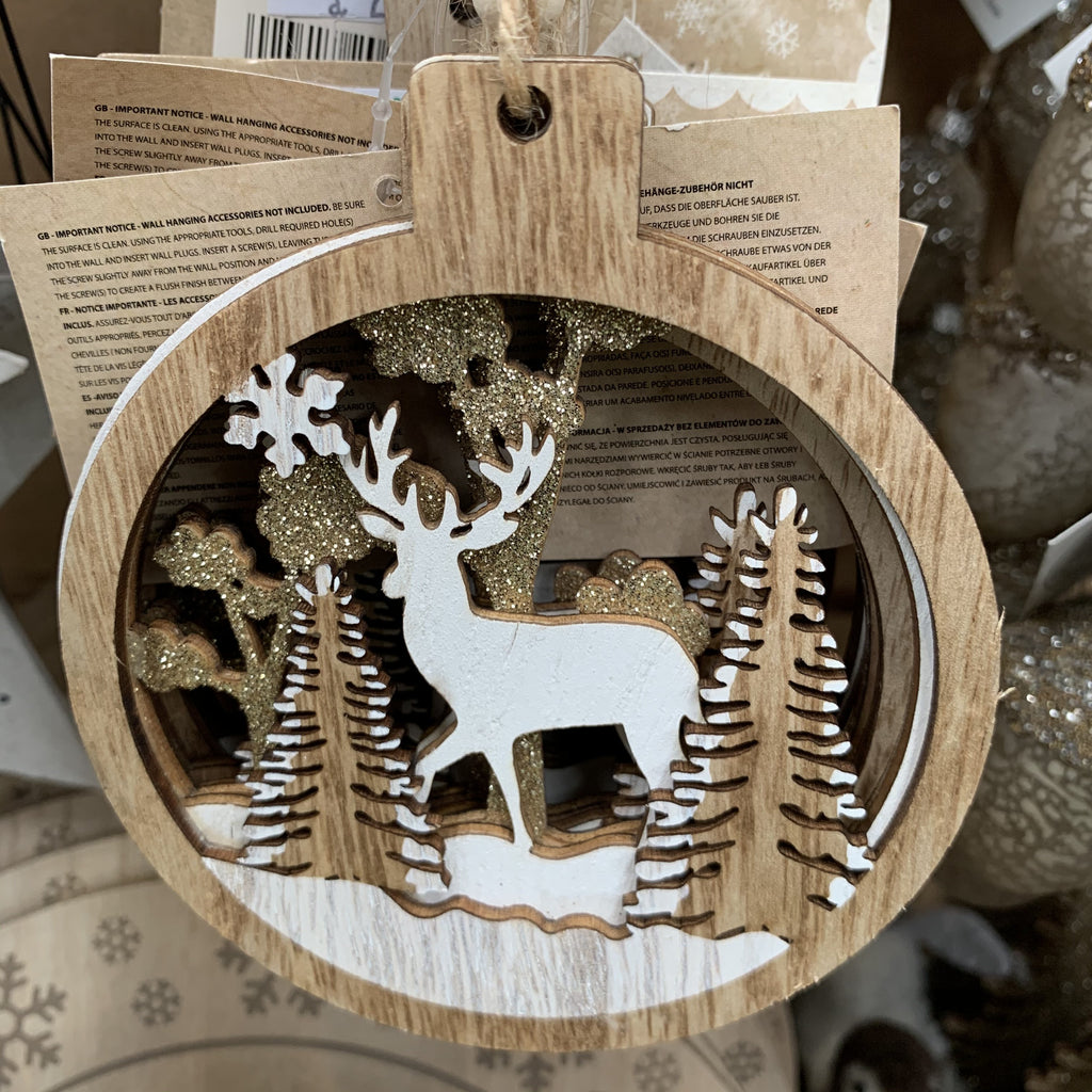 12CM HANGING TREE DECO WITH DEER
