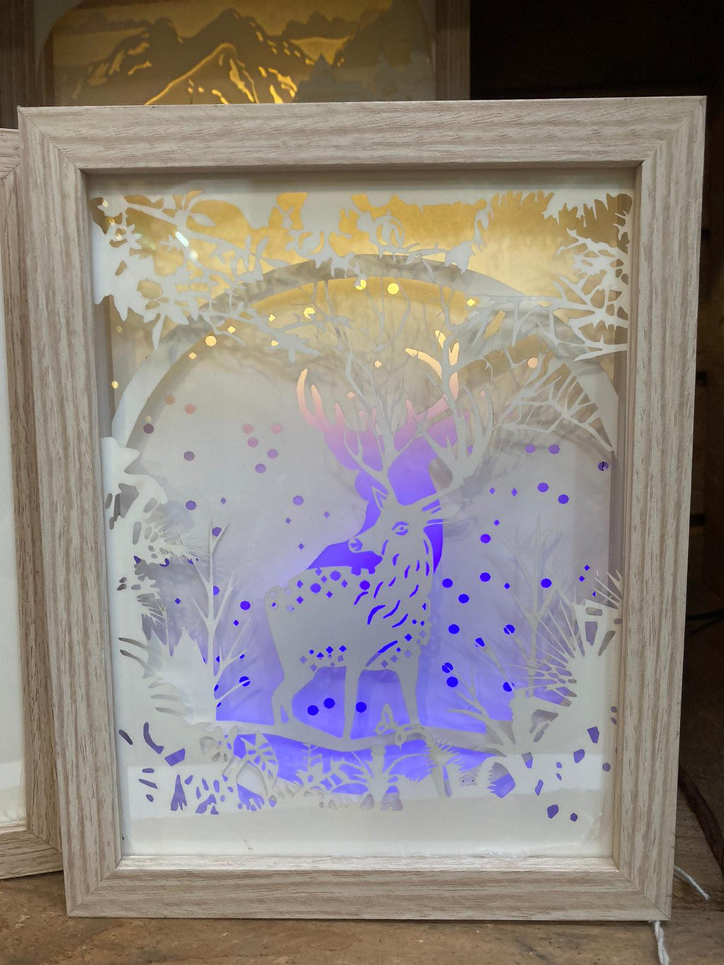 REINDEER LIGHT UP BOX23.5X18CM