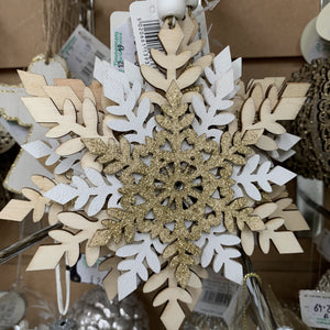 WOODEN THREE LAYER SNOWFLAKE DEC