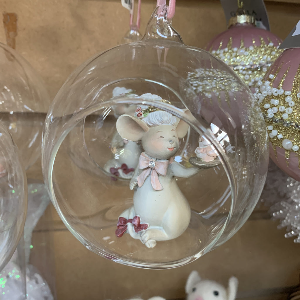 RESIN MICE IN CUT OUT GLASS BAUBLE