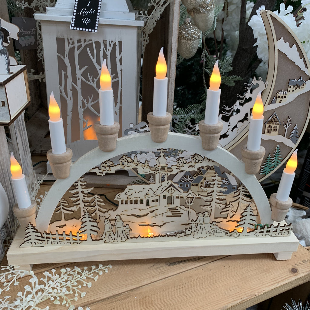 LED WOOD CANDLE BRIDGE