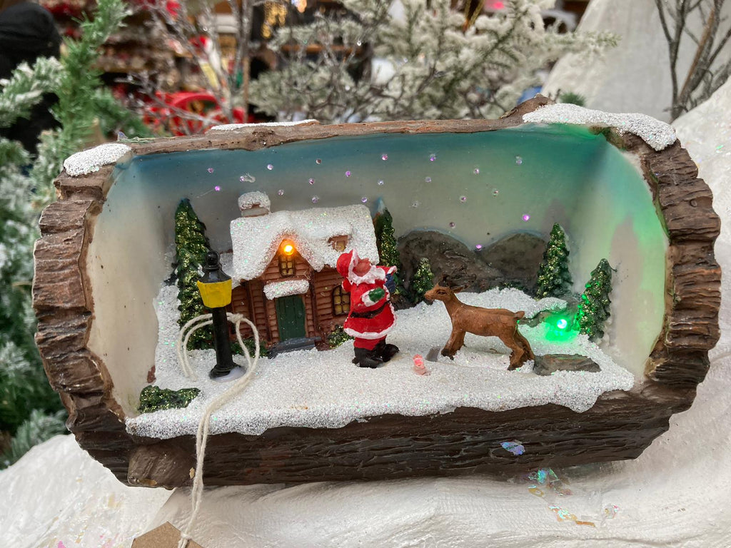 FIBRE OPTIC LED LOG SCENE SANTA & REINDEER