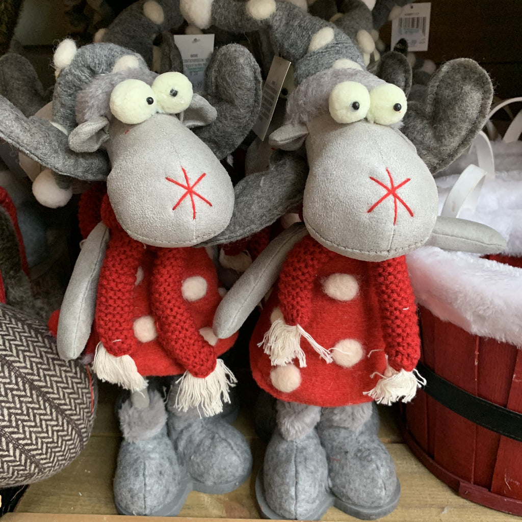GREY REINDEER IN RED POM POM DRESS WOBBLER