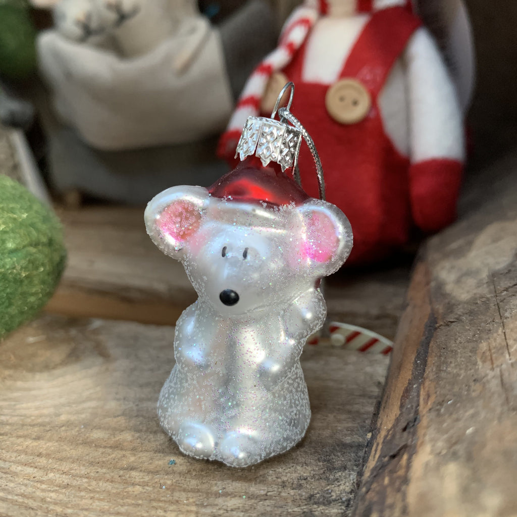 LITTLE GLITTER MOUSE GLASS BAUBLE