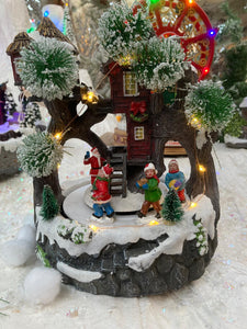 23CM LIT SANTA TREE HOUSE SCENE