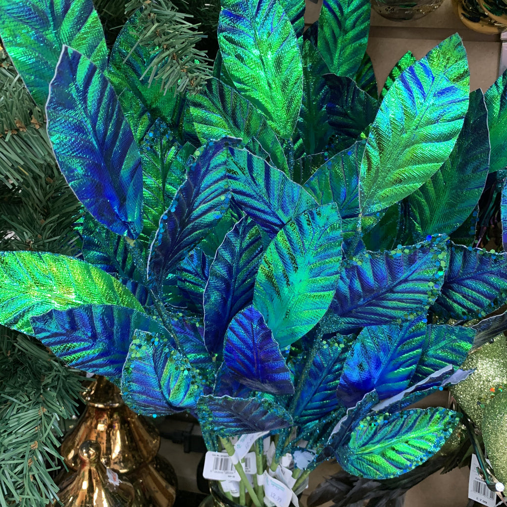 65CM PEACOCK IRIDESCENT LEAF STEM