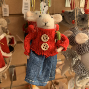 MOUSE WITH BLUE SKIRT AND WREATH TREE DECORATION