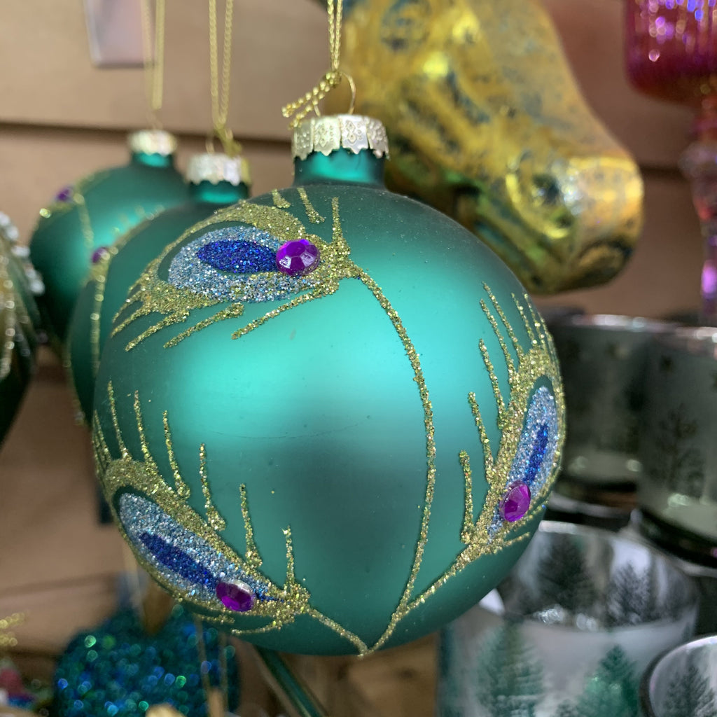 TEAL GLASS PEACOCK STYLE DESIGN BAUBLE