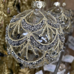 GOLD & BLACK GLITTER DECORATED BAUBLE