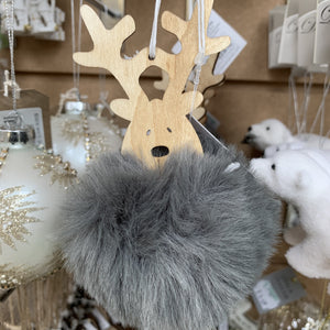 WOODEN REINDEER HEAD WITH POMPOM BODY GREY