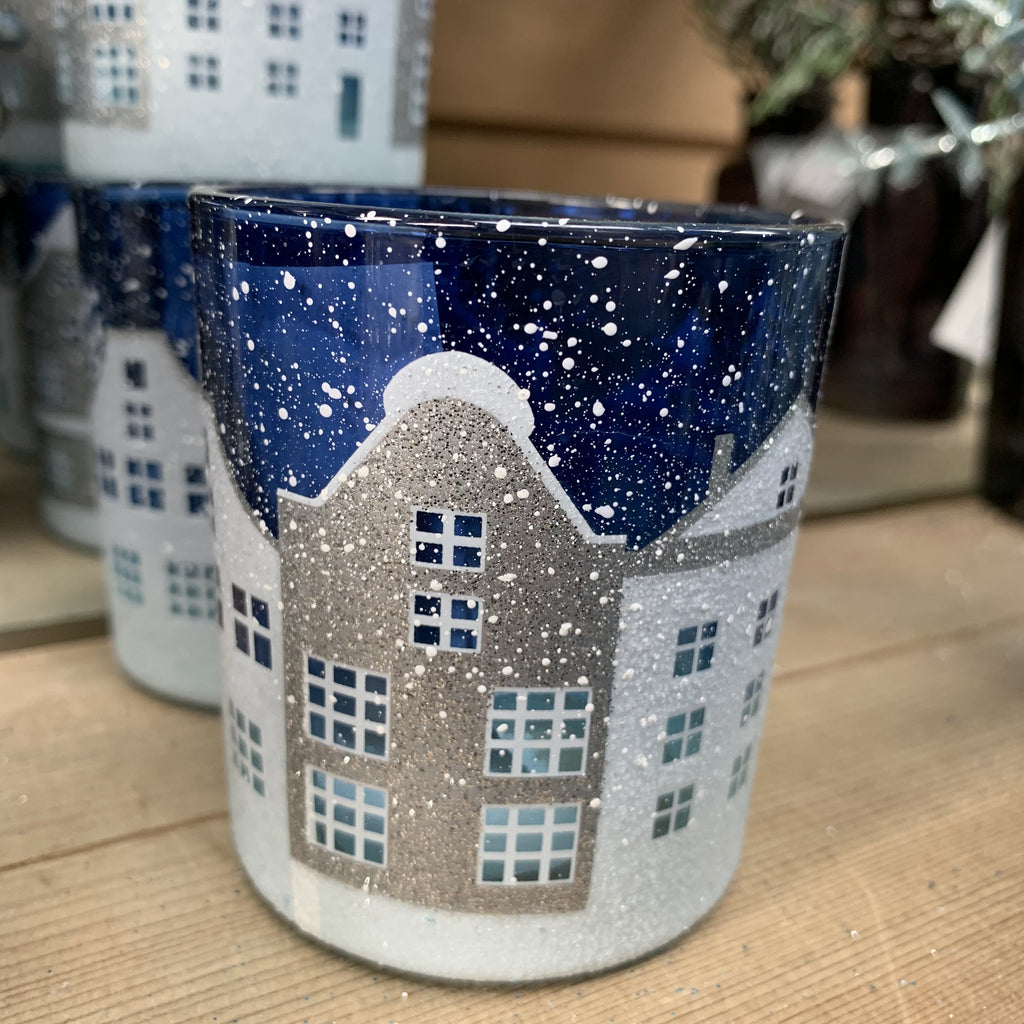 BLUE GLASS STREET SCENE T-LITE POT SMALL