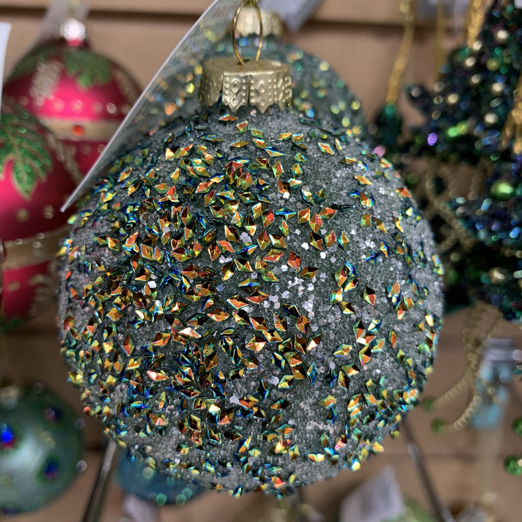 GREEN/COPPER SEQUIN GLASS BALL