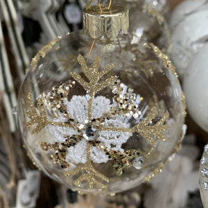 CLEAR GLASS BALL GOLD LACE FLOWER