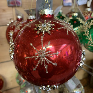 RED GLASS BALL GOLD STARS LARGE