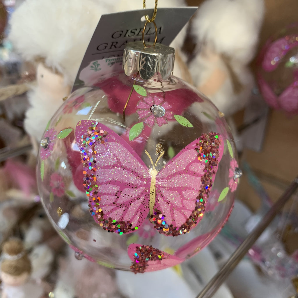 CLEAR GLASS BALL PINK BUTTERFLIES