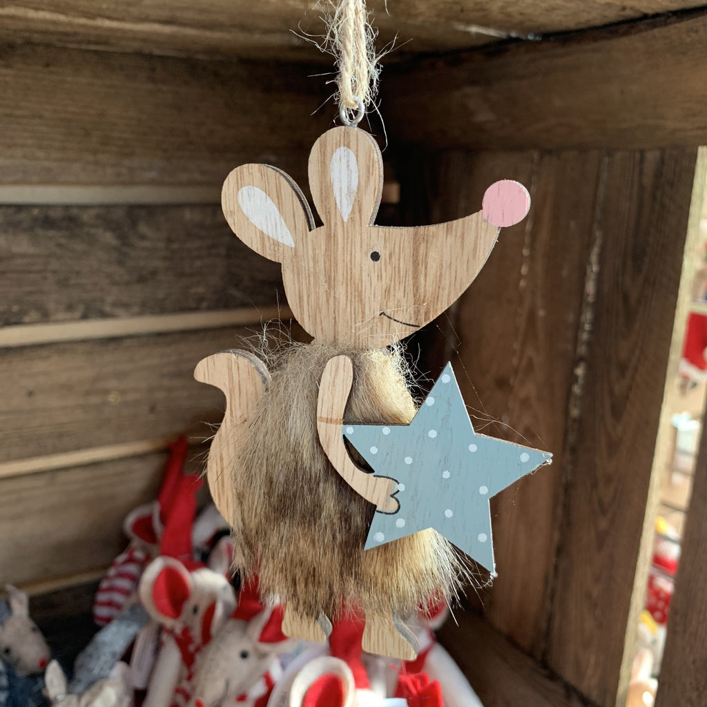 FURRY MOUSE WITH STAR WOOD HANGER 12 CM