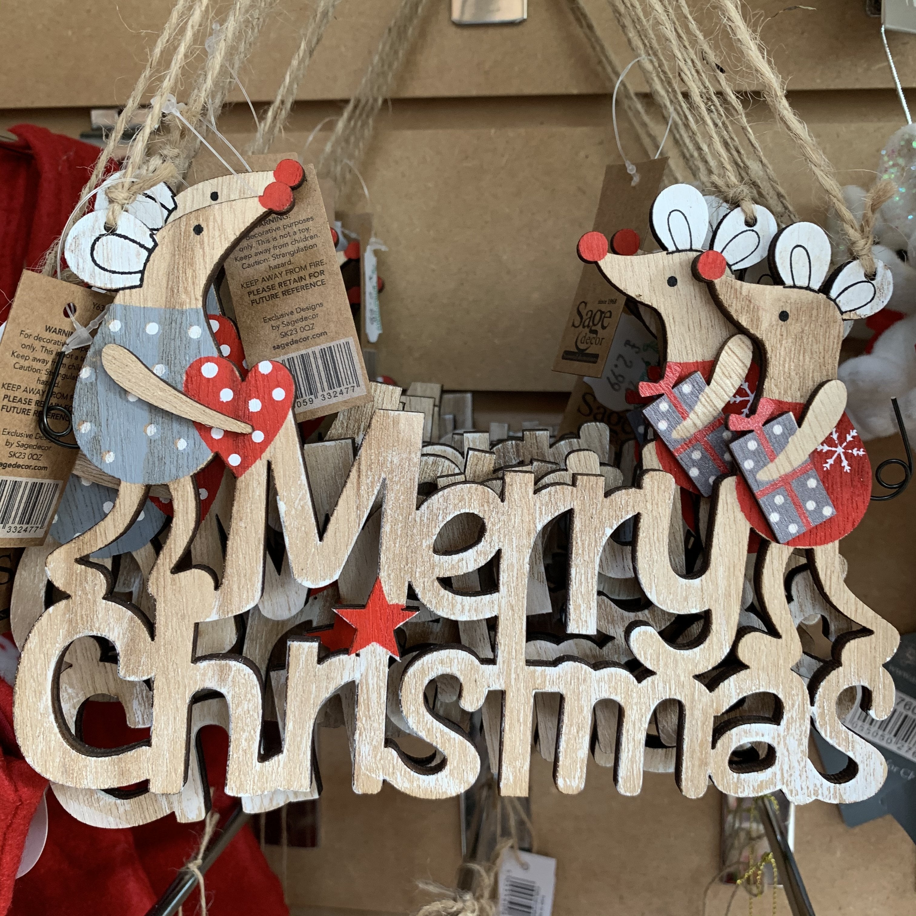 18CM WOOD MICE MERRY CHRISTMAS SIGN