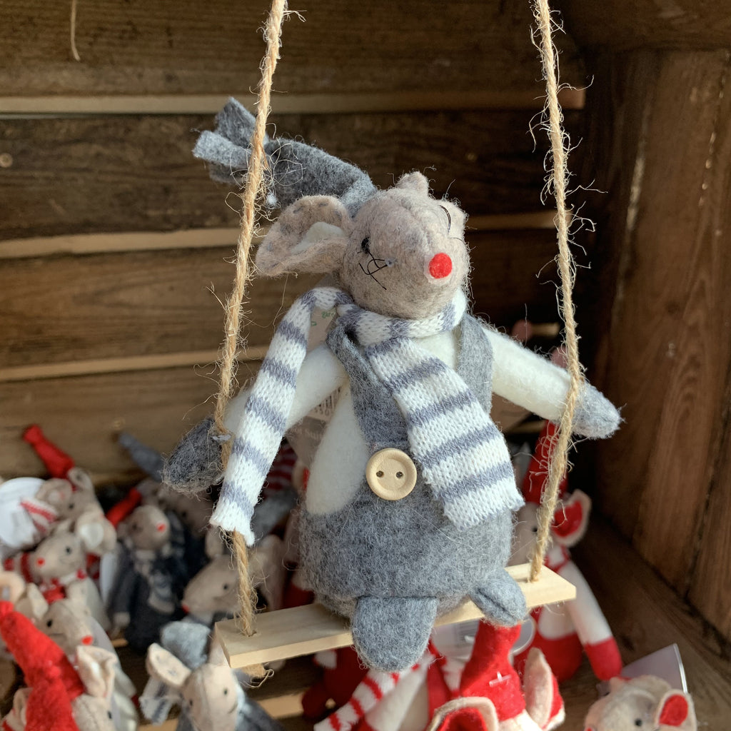 GREY MOUSE ON SWING