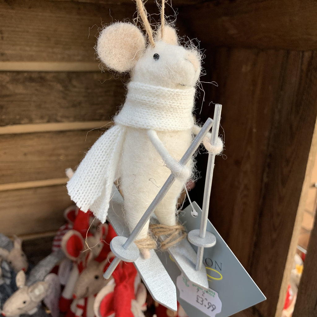 MOUSE ON SKIS 10cm TREE DECORATION