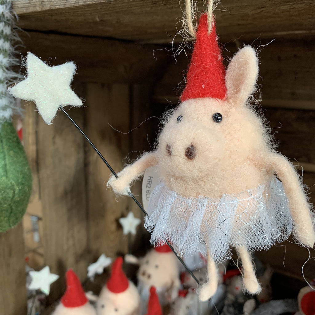 FAIRY PIG WITH WAND TREE DECORATION