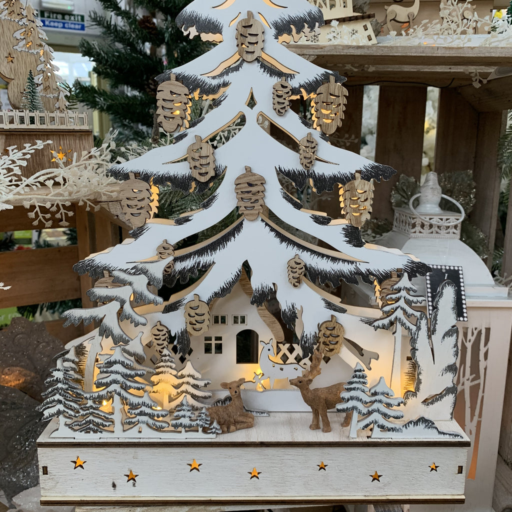 LED WOOD CHRISTMAS TREE FOREST SCENE