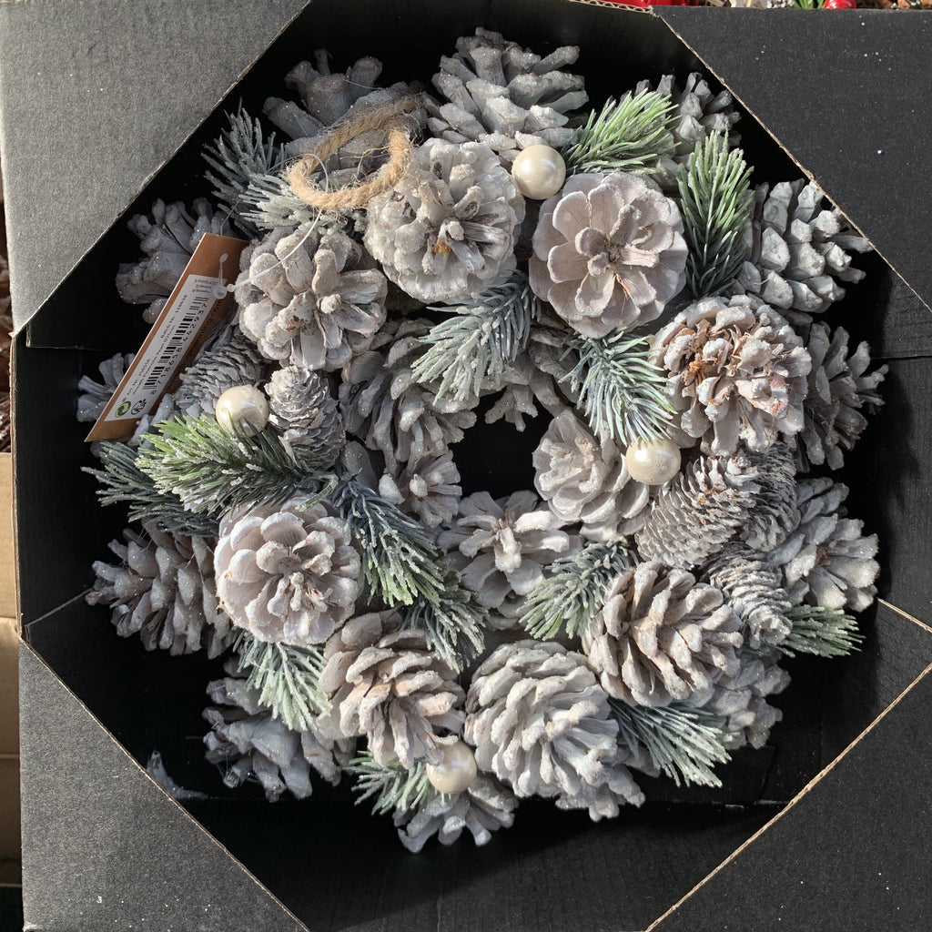 WREATH PINECONE PEARL 25CM