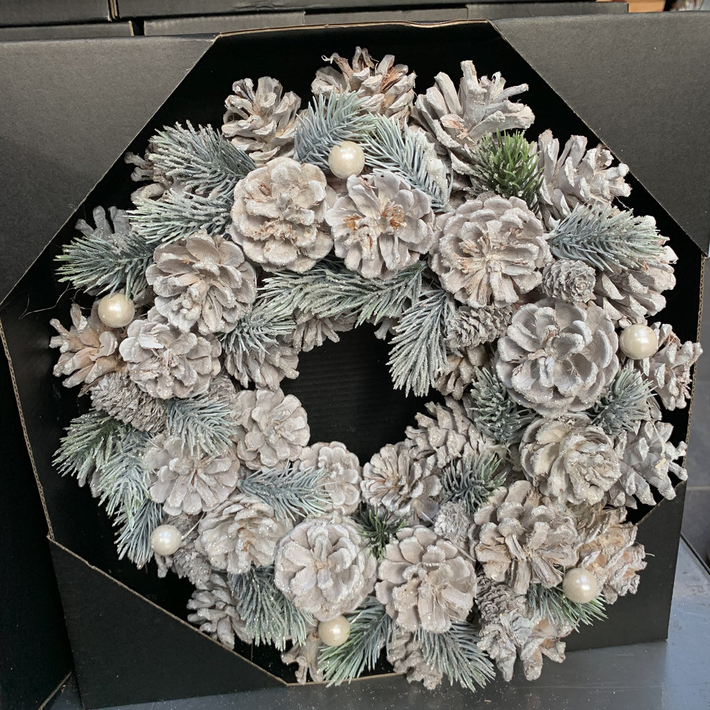 WREATH PINECONE PEARL 30CM
