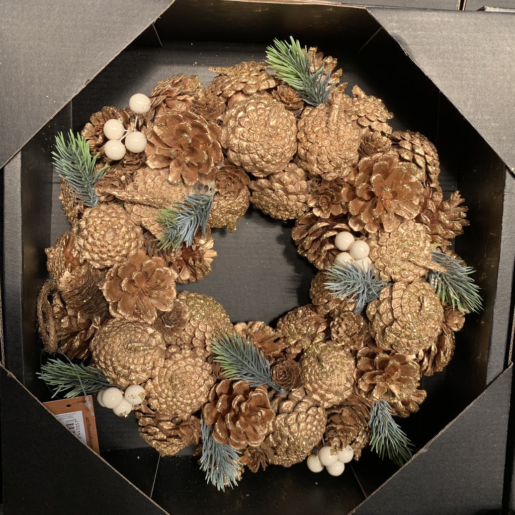 WREATH PINECONE WHITE BERRY 30CM