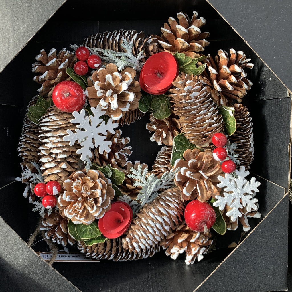 WREATH FLOWER SNWFLAKE 25CM