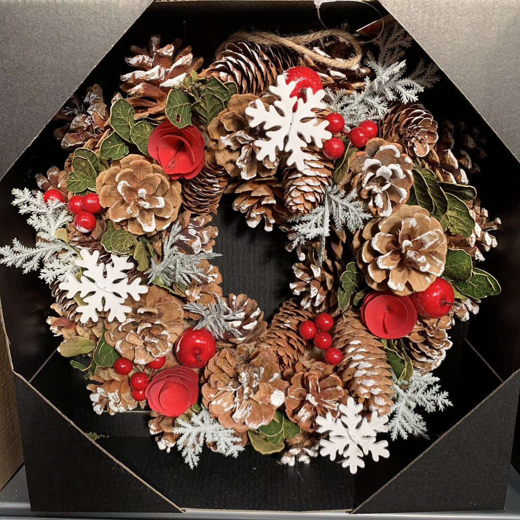 WREATH FLOWER SNWFLAKE 30CM