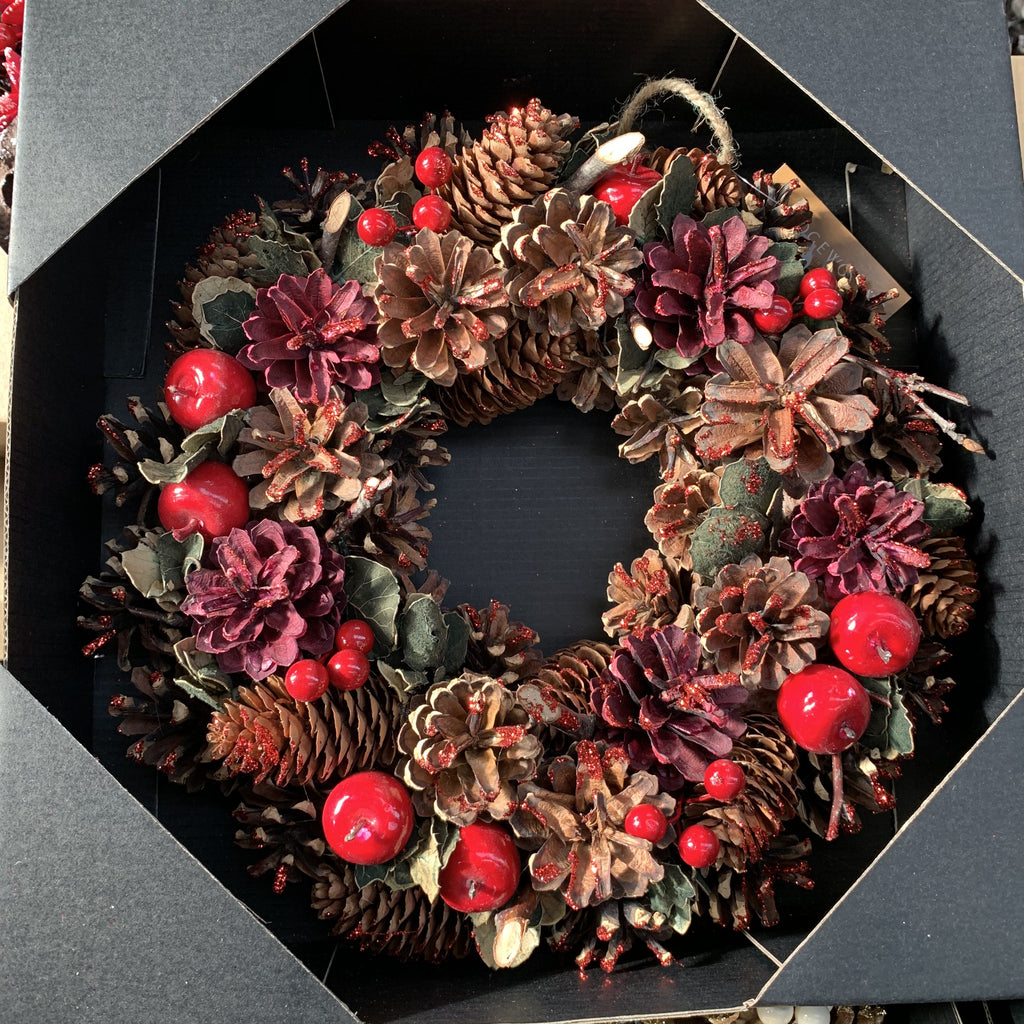 WREATH RED BERRY 30CM