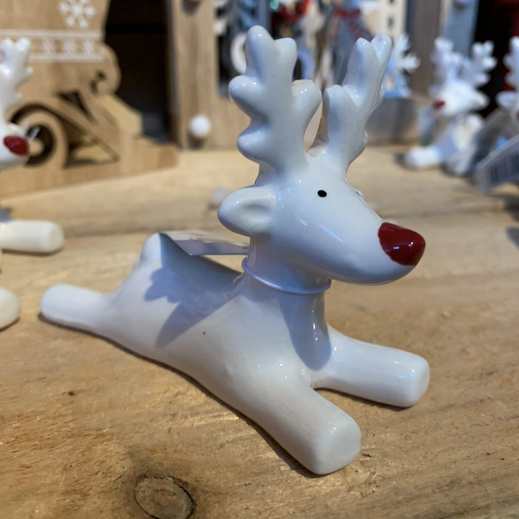 CERAMIC SMALL LYING WHITE REINDEER