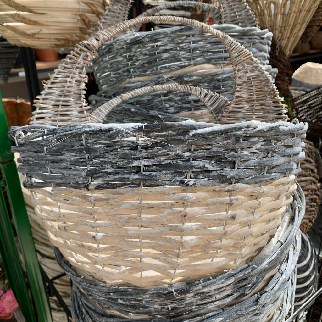 "14"" Grey & White Rattan Wall Basket"