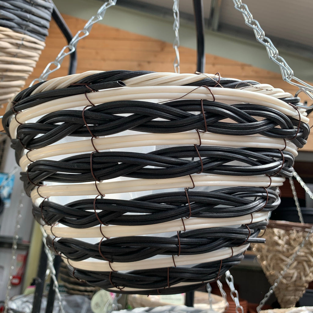 12ƒ?� Black & White Plastic Hanging Basket