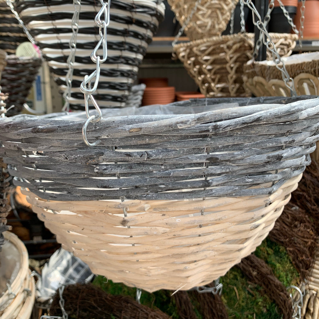 "14"" Grey & White Round Hanging Basket"