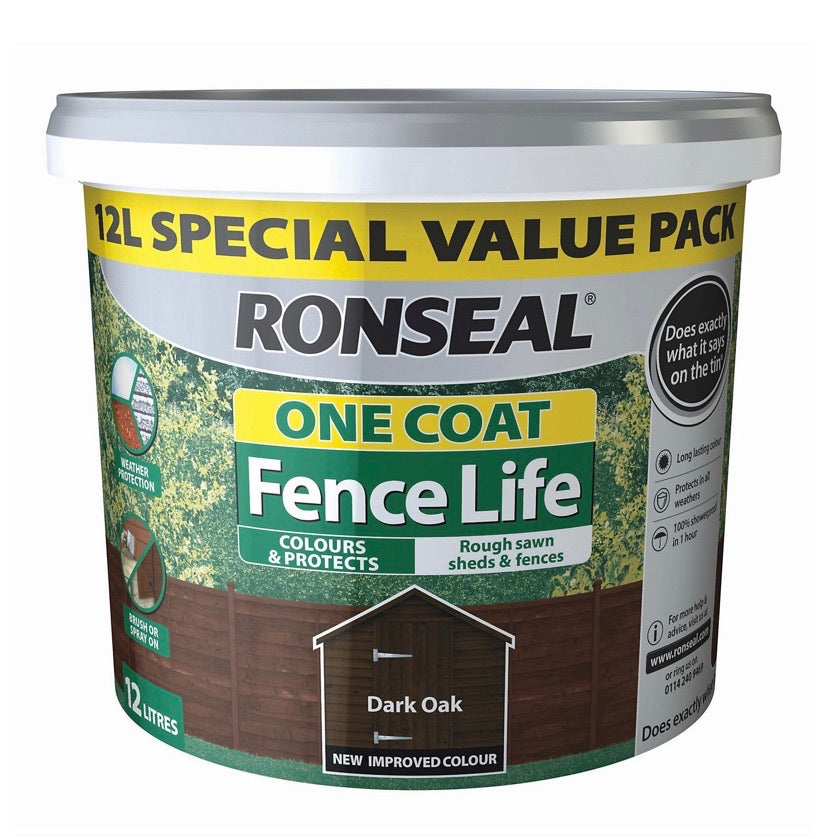 Ronseal One Coat Fence Life 12L Fence Paint - Dark Oak