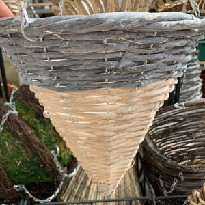 "12"" Conical Grey & White Hanging Basket"