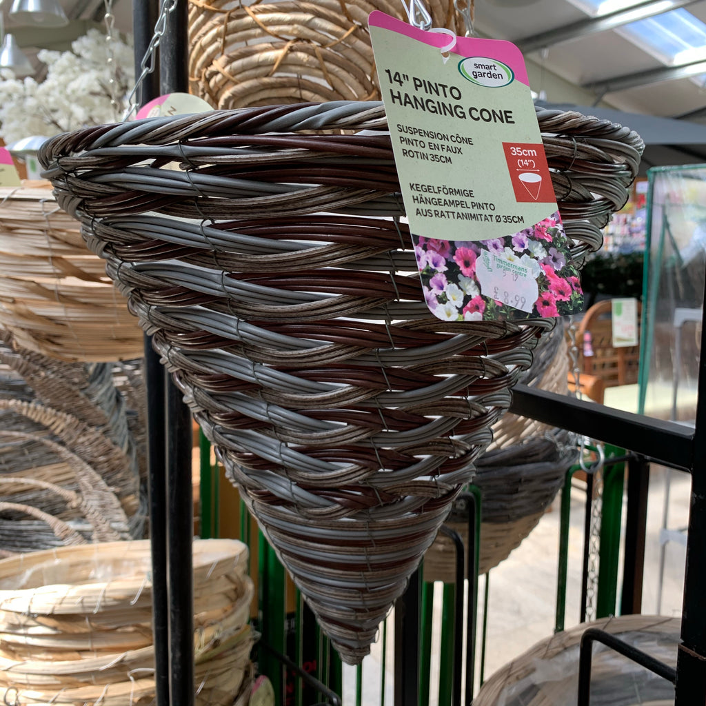 "14"" Faux Rattan Conical Hanging Basket"
