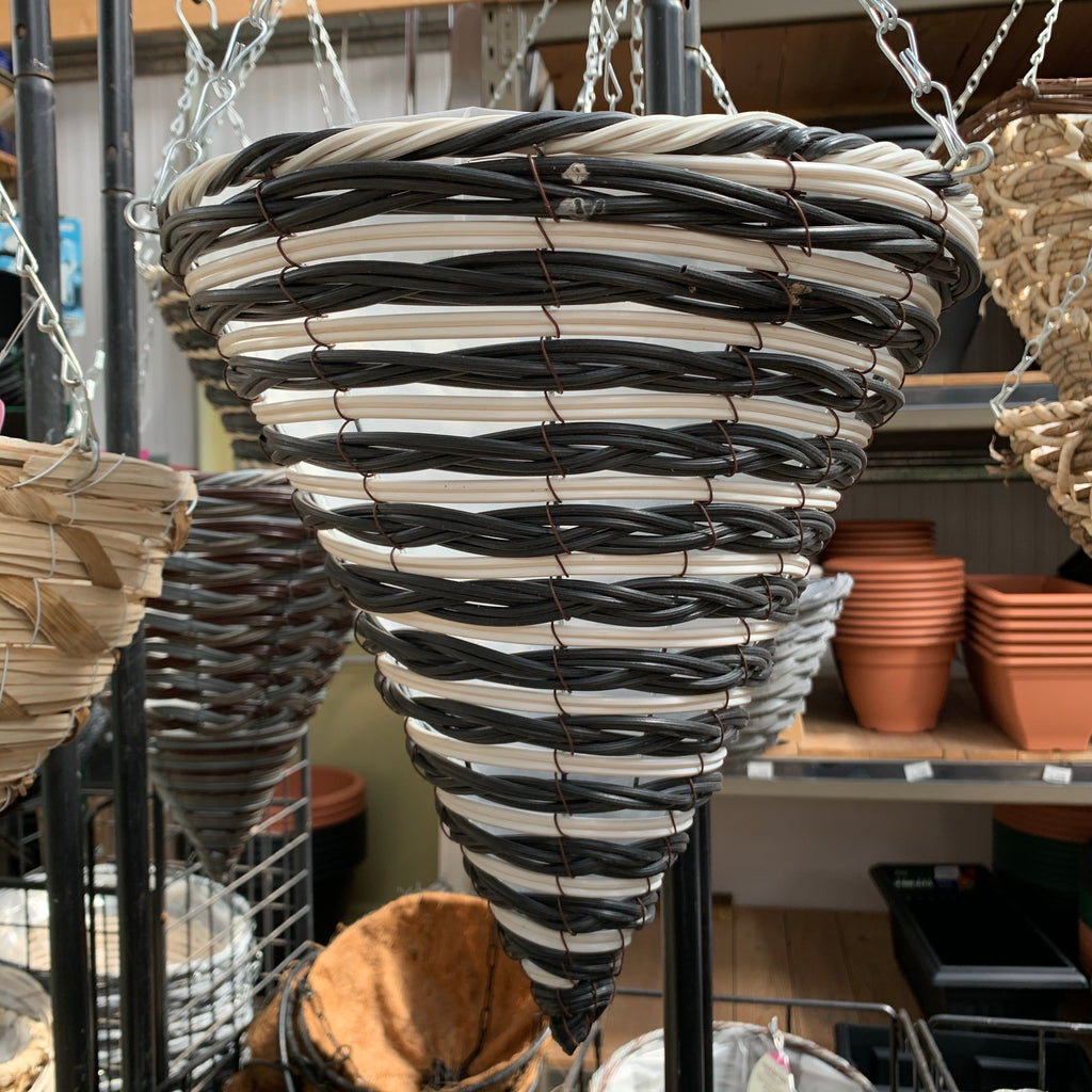 Black & White Plastic Conical Hanging Basket