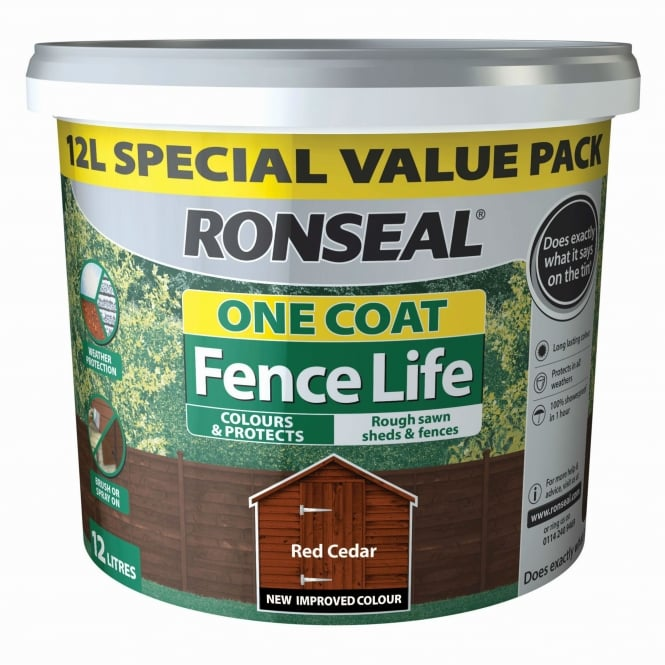 Ronseal One Coat Fence Life 12L Fence Paint - Red Cedar