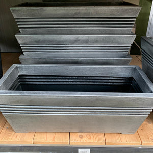 Milano Trough Plastic Planter In Silver Pewter Effect