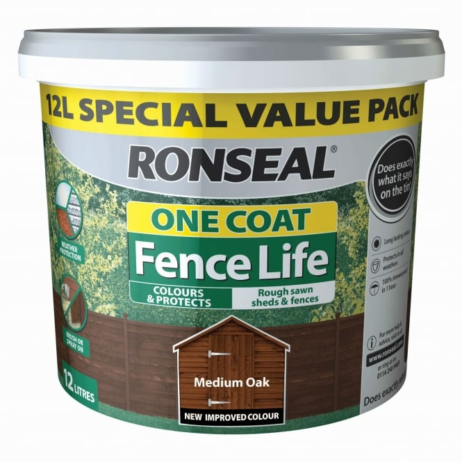 Ronseal One Coat Fence Life 12L Fence Paint - Medium Oak