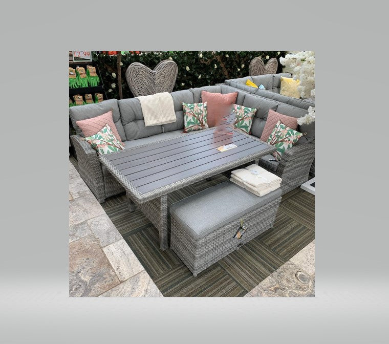 PREORDER Aruba Rectangular Grey Rattan Corner Dining Set